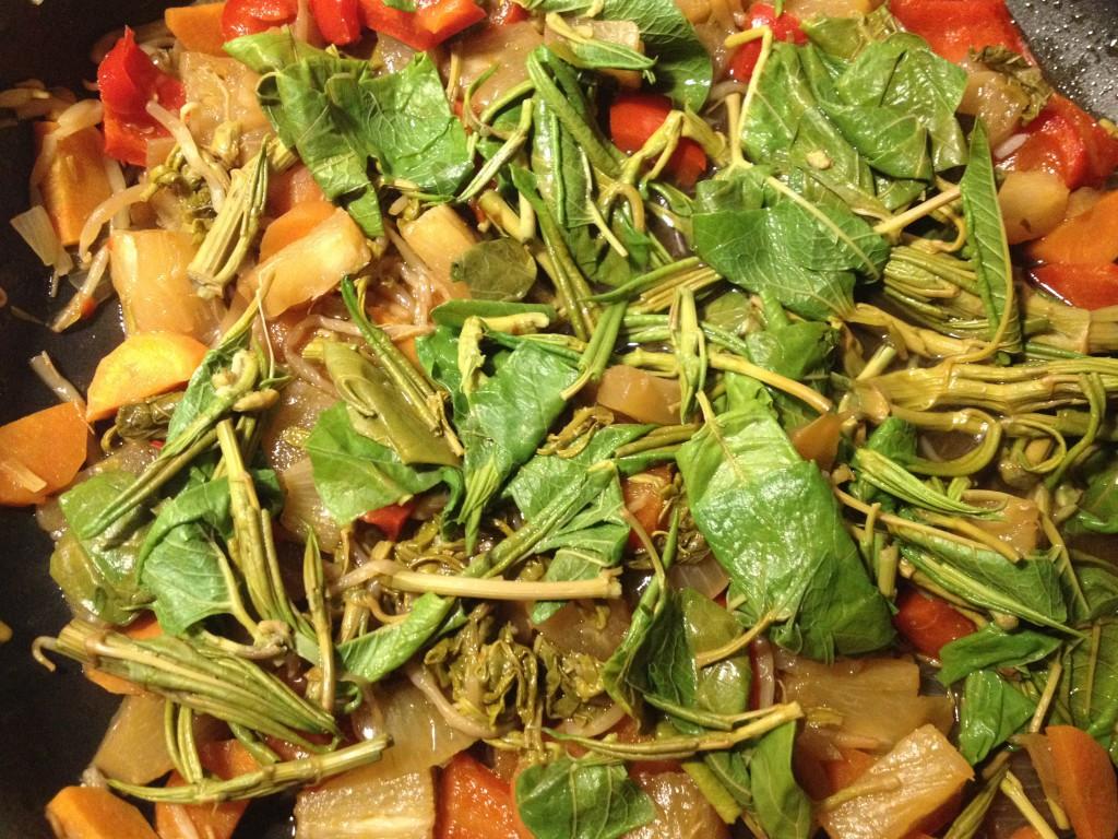 Asiatische Gemüsepfanne mit Blättern des Japanischen Staudenknöterichs (Copyright: wilderwegesrand.de)