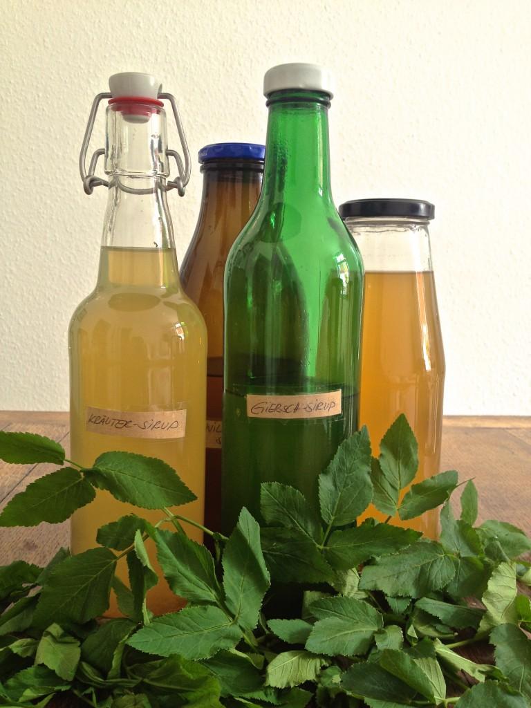 Flaschen mit Kräutersirup, Gierschblätter (Copyright: wilderwegesrand.de)