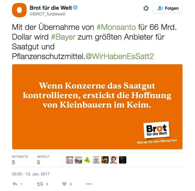 Tweet zur Monanto-Übernahme durch die Bayer AG (Quelle: Brot für die Welt)