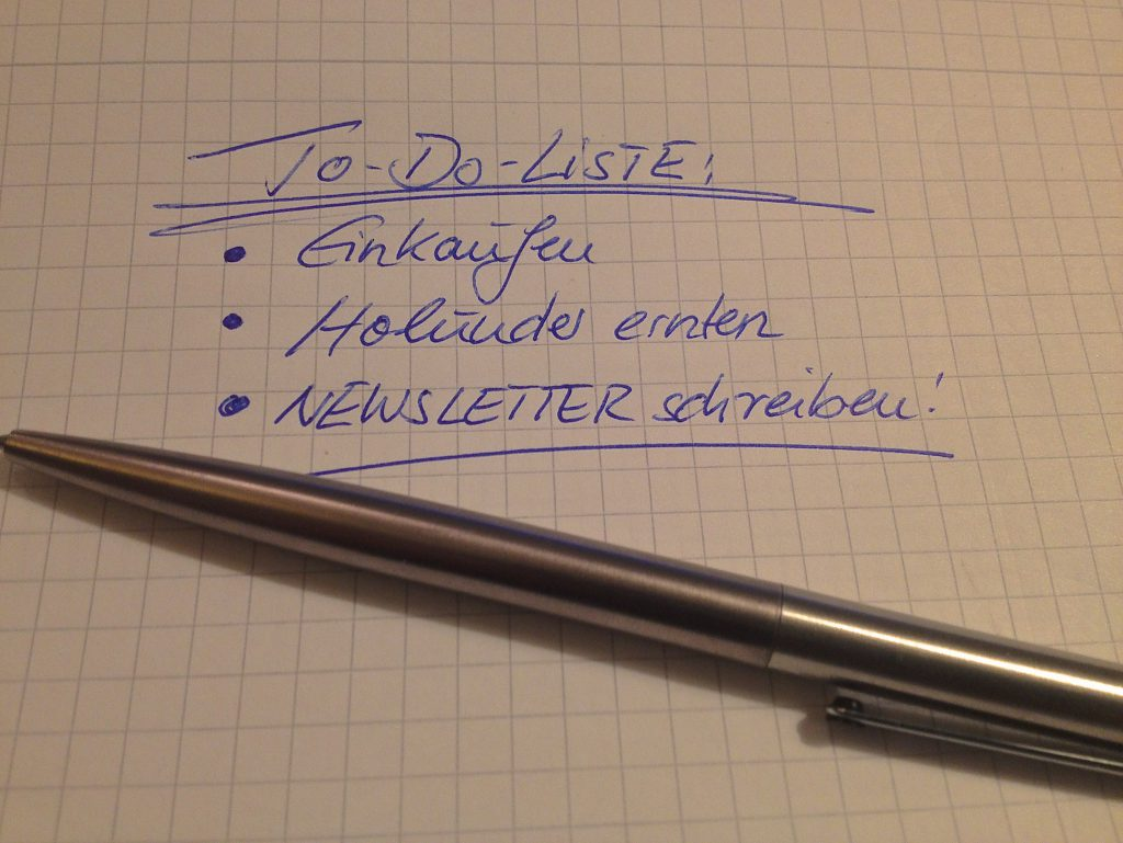To-Do-Liste mit Newsletter (Copyright: wilderwegesrand.de)